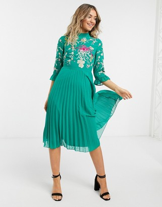 ASOS DESIGN embroidered pleated midi dress with fluted sleeve in emerald green