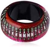 Nicholas King Handmade Resin Bangle with Neon Glitter Fabric and Crystal Chain