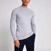 Mens River Island Grey slim fit turtle neck knitted jumper