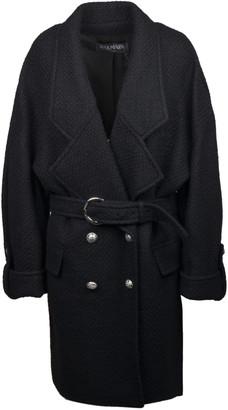 Balmain Double-breasted Tweed Coat