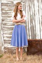 Shabby Apple Dorothy Polkadot Skirt Blue