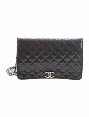 Chanel Quilted Patent Leather Crossbody Bag Grey