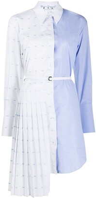 Off-White Pleated Shirt Dress