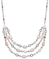 Nine West Tri-Tone Beads & Baubles Multi-Row Necklace