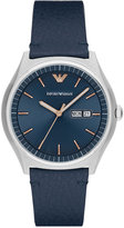 Emporio Armani Men's Blue Leather Strap Watch 43mm AR1978