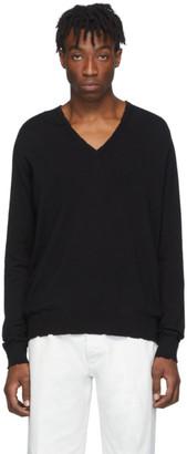 Maison Margiela Black Wool V-Neck Sweater