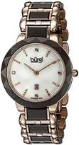 Burgi Women's BUR147BR Brown and Rose Gold Quartz Watch With Diamond Mother of Pearl Dial And Brown and Rose Gold Ceramic Bracelet