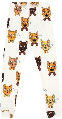 Mini Rodini Cat Choir printed cotton leggings