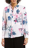 CeCe Point Collar Long Sleeve Flower Gardens Hi-Low Blouse
