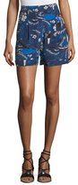 Michael Kors Welcome-Print High-Rise Pleated Crepe de Chine Shorts