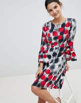 Closet London Closet Spotty Fluted Sleeve Dress