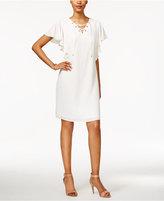 MSK Flutter-Sleeve Lace-Up Shift Dress