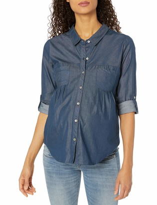 Everly Grey Women's Maternity Batina Front Long Sleeve Button Tab Shirt with Pleat Detail