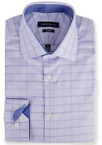 Perry Ellis Non-Iron Slim-Fit Spread-Collar Windowpane-Checked Dress Shirt