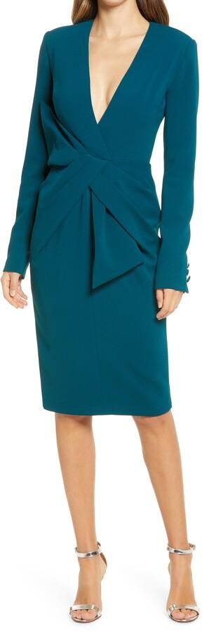 Badgley Mischka Asymmetrical Bow Waist Long Sleeve Dress