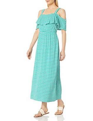 Robbie Bee Women's Stripe Rayon Span Cold Shoulder Maxi