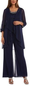 R & M Richards Petite 3-Pc. Jacket, Embellished Top & Pants Set