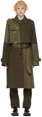Sacai Khaki Gabardine and Melton Wool Trench Coat