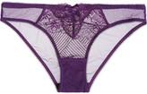 L'Agent by Agent Provocateur Mia Lace-paneled Stretch-tulle Briefs - Purple