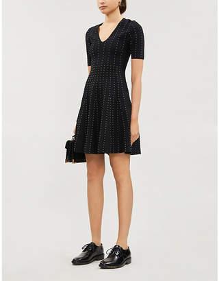 Sandro Metallic bead-embellished stretch-crepe mini dress