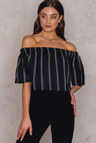 NA-KD Pinstriped Cropped Off Shoulder Top
