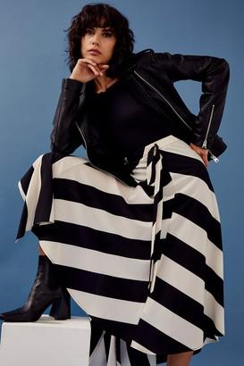 Topshop Black and White Stripe Midi Skirt