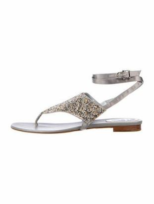 Rene Caovilla Studded Accents Slingback Sandals Grey