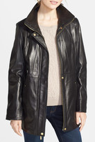 Ellen Tracy Genuine Lambskin Leather Anorak