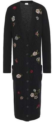 RED Valentino Embroidered Cable-knit Cardigan