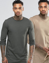Asos Super Longline Long Sleeve T-Shirt 2 Pack
