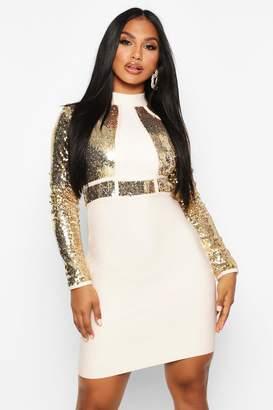 boohoo Boutique Bandage High Neck Sequin Mini Dress