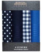Burton Burton Blue Luxury Four Pack Handkerchiefs