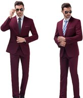 AK Beauty Men's Two-Piece Slim Fit Suit with One-Button Side Vent Jacket and Pant L