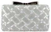 Menbur Woven Box Clutch With Bow Clasp - Metallic