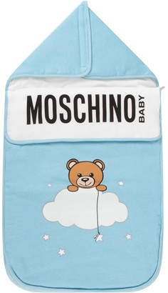 Moschino Light Blue Sleeping Bag For Babyboy With Teddy Bear