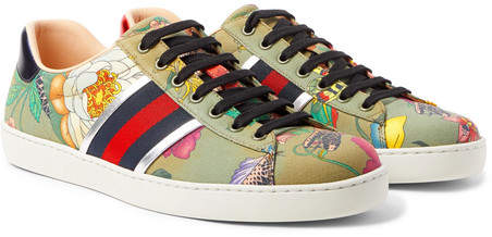 Gucci Ace Leather-Trimmed Printed Canvas Sneakers