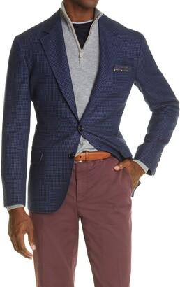 Brunello Cucinelli Houndstooth Wool & Linen Sport Coat