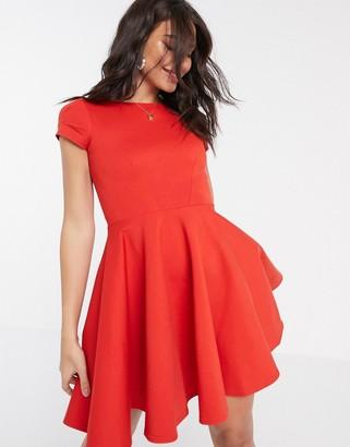 Closet London Closet short sleeve skater dress in red