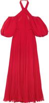 Giambattista Valli Cold-shoulder Pleated Silk-chiffon Halterneck Gown - Red