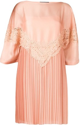 Alberta Ferretti Embroidered Plisse Dress