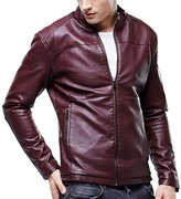 Partiss Mens PU Leather Stand Collar Lined Jacket