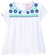 Design History Embroidered Short Sleeve Top (Toddler & Little Girls)
