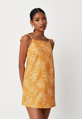 Missguided Mustard Floral Print Tie Strap Slip Dress