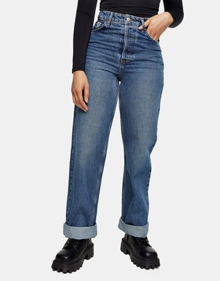 Topshop Zed oversized mom jeans in mid wash blue