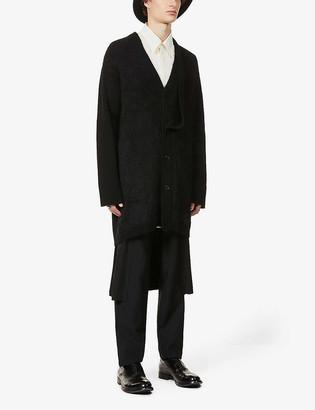 Yohji Yamamoto Dropped-shoulder wool and mohair-blend cardigan