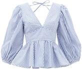 STAUD Peplum-hem Striped Cotton-poplin Blouse - Womens - Blue White