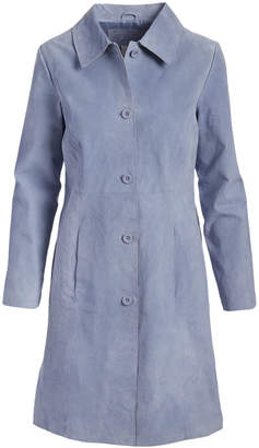 Live A Little Women's Leather Jackets LT. - Light Blue Collared Long Suede Coat - Women