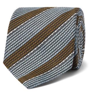 Brioni 8cm Striped Linen And Silk-Blend Tie