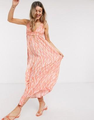 En Creme plunge front maxi dress