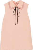 Miu Miu Embellished Ruffled Silk-trimmed Crepe Top - Blush